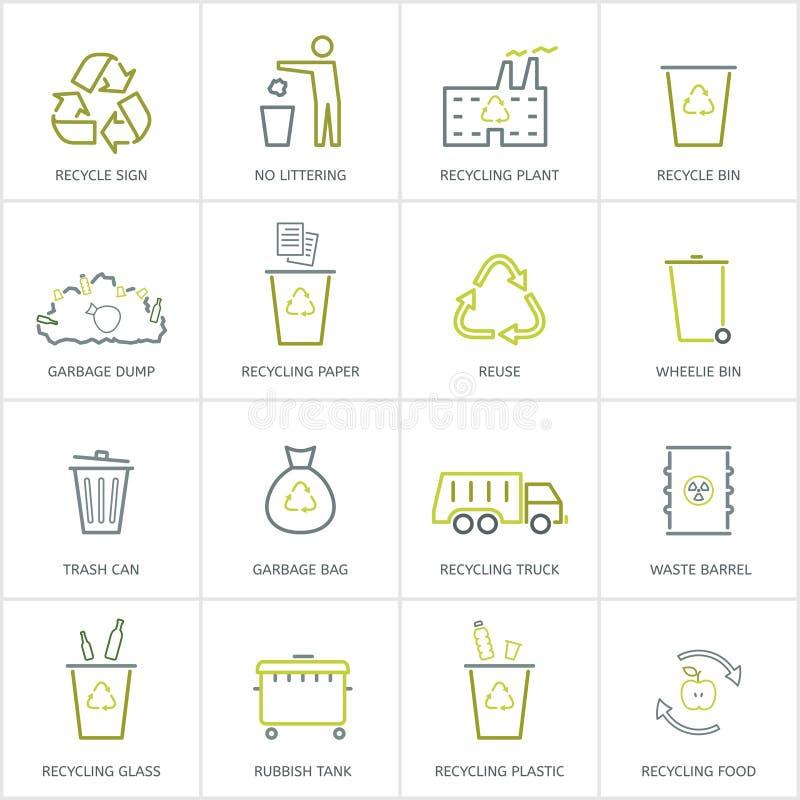 Przetwarzający śmieciarskie ikony ustawiać royalty ilustracja