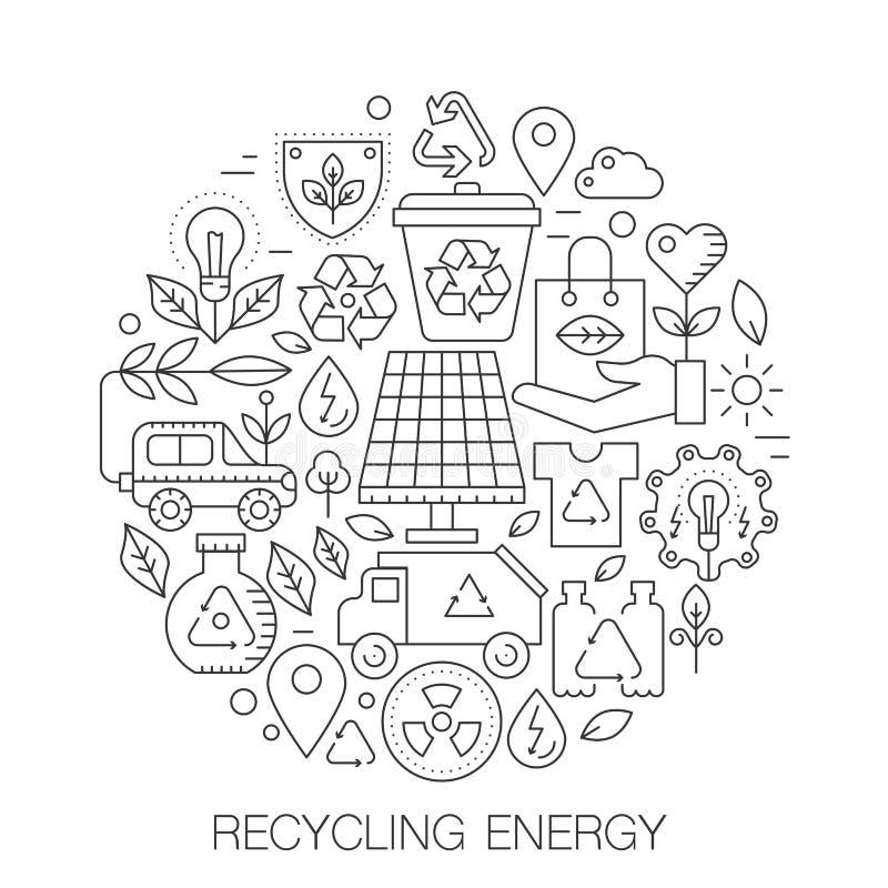 Przetwarzający energię w okręgu - pojęcie kreskowa ilustracja dla pokrywy, emblemat, odznaka Przetwarzać zielonej energii cienkie royalty ilustracja