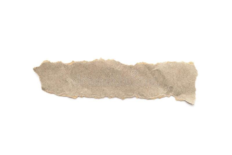 Przetwarzający papierowego rzemiosła kij na białym tle Brown papier drzejący lub rozdzierający kawałek papieru odizolowywający na zdjęcia royalty free