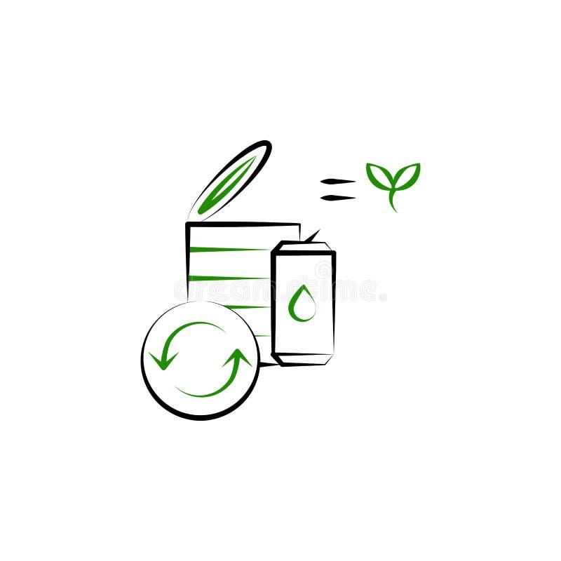 Przetwarzający, przetwarza kosz ikonę Element Przetwarzać 2 kolorów ikonę Cienka kreskowa ikona dla strona internetowa projekta i ilustracji