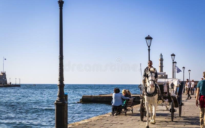 Przewóz koni w porcie weneckim, Chanii, Krecie, na greckich wyspach, Grecji, Europie zdjęcie stock