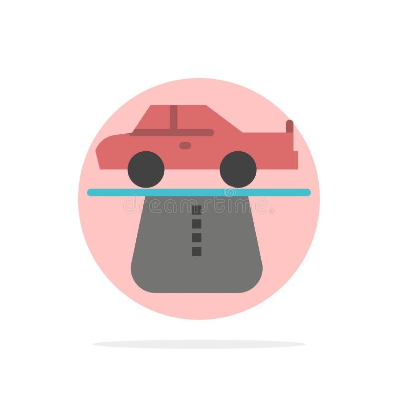 Przewaga, władza, samochód, dywan, wygoda okręgu Abstrakcjonistycznego tła koloru Płaska ikona ilustracji