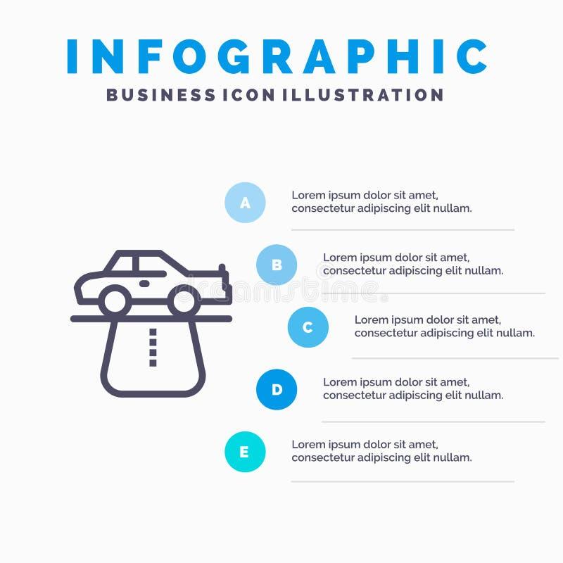 Przewaga, władza, samochód, dywan, wygody Kreskowa ikona z 5 kroków prezentacji infographics tłem ilustracji