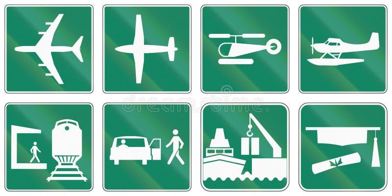 Przewdonik drogowy podpisuje wewnątrz Quebec, Kanada - royalty ilustracja