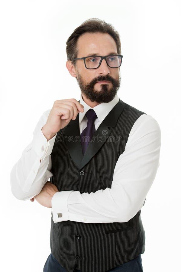 Przewdonik recepturowi eyeglass obiektywy, ramy i Biznesmen klasyczna formalna odzież i właściwy eyewear biel obraz royalty free