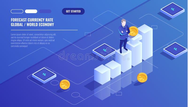 Przewiduje waluty tempo, biznesmena pobyt na graficznej mapie, biznesowy diagram, inwestycja w nowożytnej technologii, pieniądze ilustracja wektor