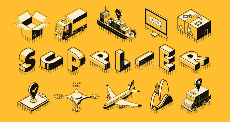 Przewiezeni logistycznie, dostawca, towary eksportują, importują, ilustracja wektor