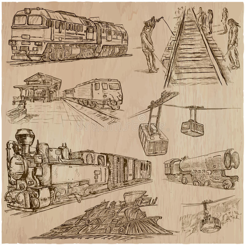 Przewieziona paczka - ręka rysować wektorowe ilustracje ilustracji