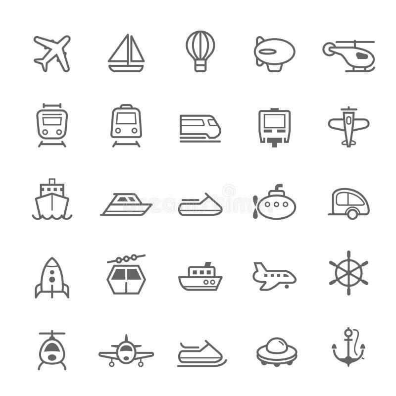 Przewiezione ikony na Białym BackgroundTransport ikon konturu uderzeniu na Białym tle ilustracji