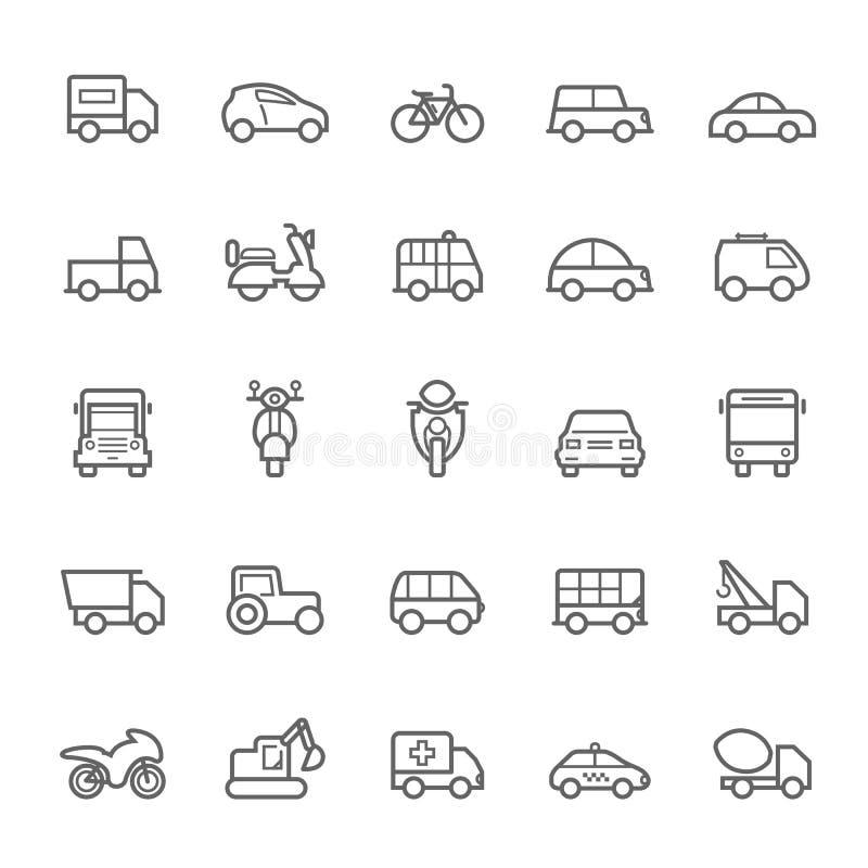 Przewiezione ikony na Białym BackgroundTransport ikon konturu uderzeniu na Białym tle royalty ilustracja