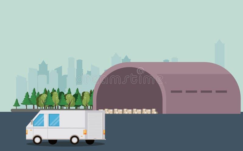 Przewiezionego pojazdu doręczeniowego samochodu dostawczego kreskówka ilustracji