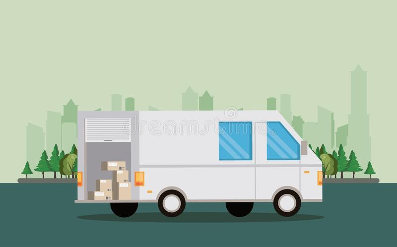 Przewiezionego pojazdu doręczeniowego samochodu dostawczego kreskówka royalty ilustracja