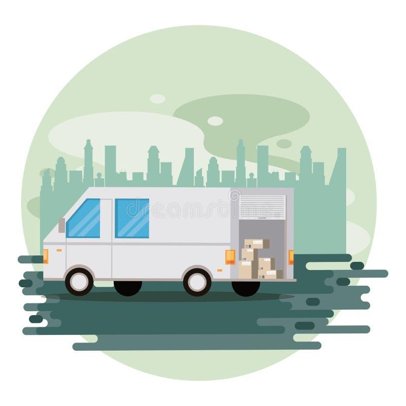 Przewiezionego pojazdu doręczeniowego samochodu dostawczego kreskówka ilustracja wektor