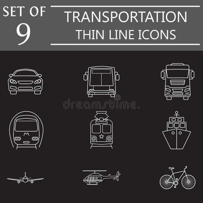Przewiezionej linii ikony set, jawny transport royalty ilustracja