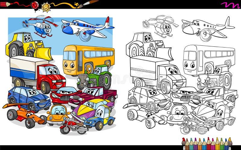 Przewiezionych pojazdów kolorystyki grupowa strona ilustracja wektor