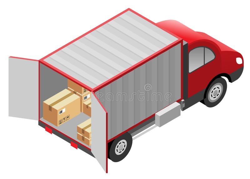 Przewiezionych usługa dostawa towary Kartony i samochód dostawczy ciężarówka ilustracji