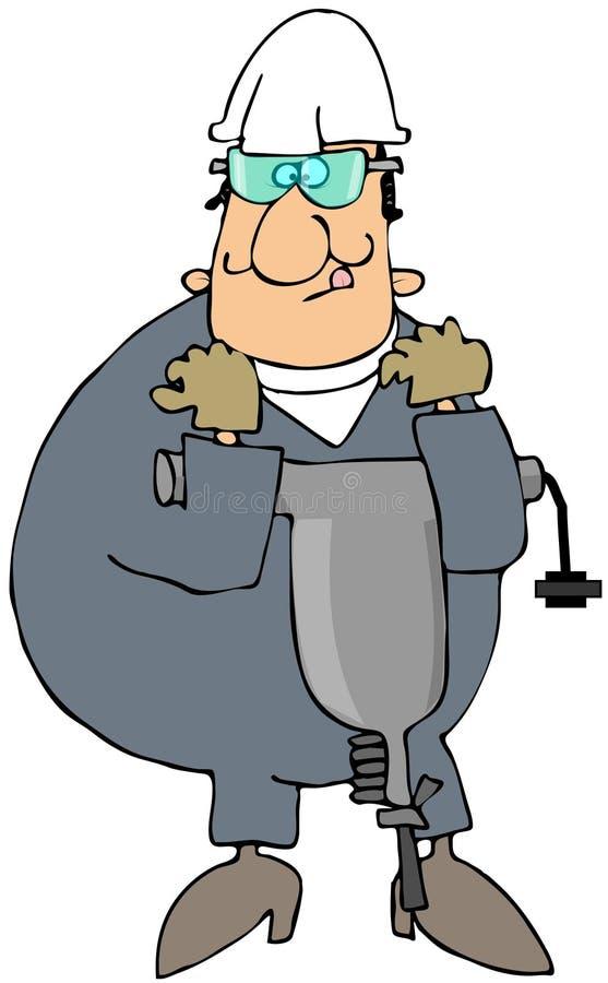 przewożenia jackhammer pracownik ilustracji