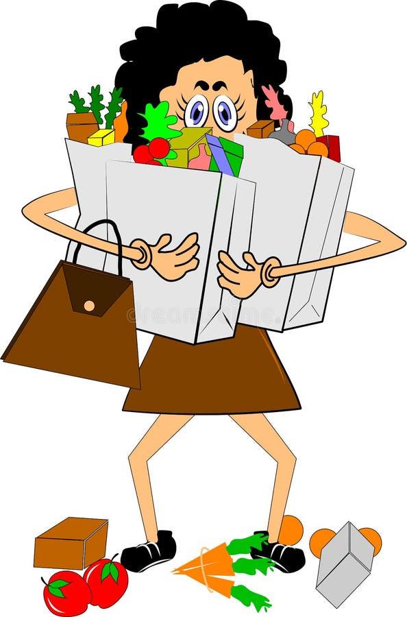 przewożenia sklepów spożywczy kobieta ilustracja wektor