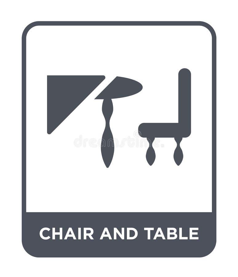 przewodniczy ikonę w modnym projekta stylu i zgłasza przewodniczy ikonę odizolowywającą na białym tle i zgłasza krzesła i stołu w royalty ilustracja
