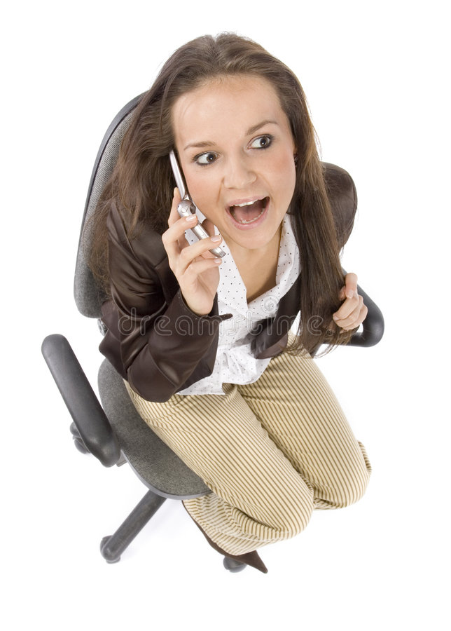 przewodniczy ruchomego telefonu biura posiedzenie mówi kobieta fotografia stock