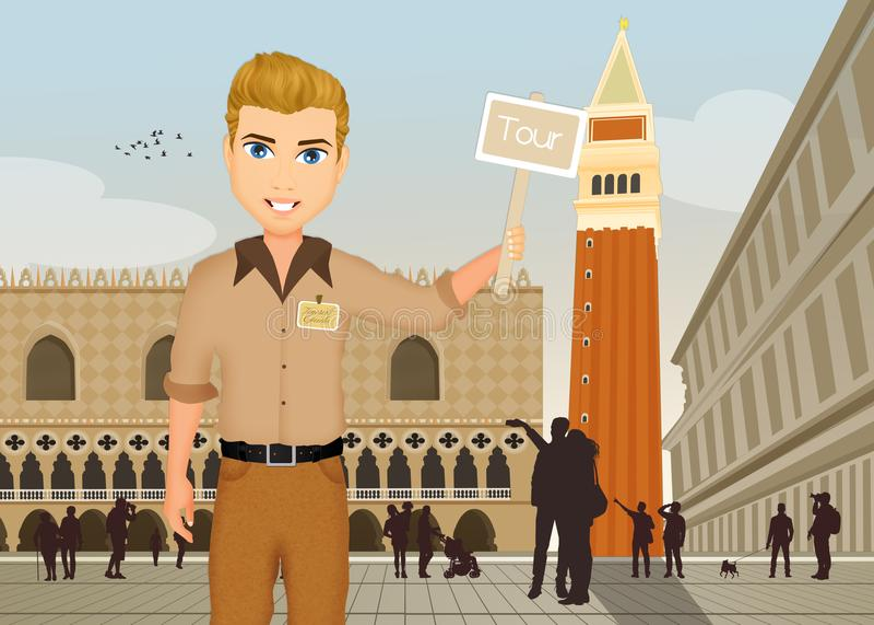 Przewodnik wycieczek w Wenecja ilustracja wektor