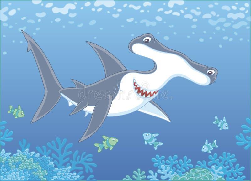 Przewodzący rekin nad rafą ilustracji