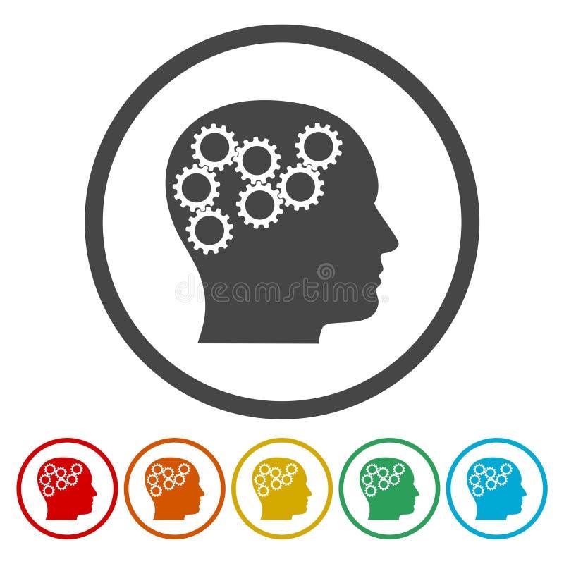 Przewodzi z przekładni pojęciem, Wektorowe logo przekładnie w głowie, 6 kolorów Zawierać ilustracji