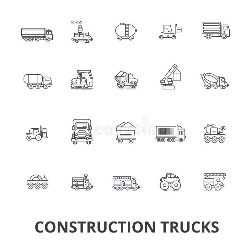 Przewozi samochodem budowę, wyposażenie, żuraw, cement, pojazdy, dostawa, samochód dostawczy, ciężarówek kreskowe ikony Editable  ilustracji