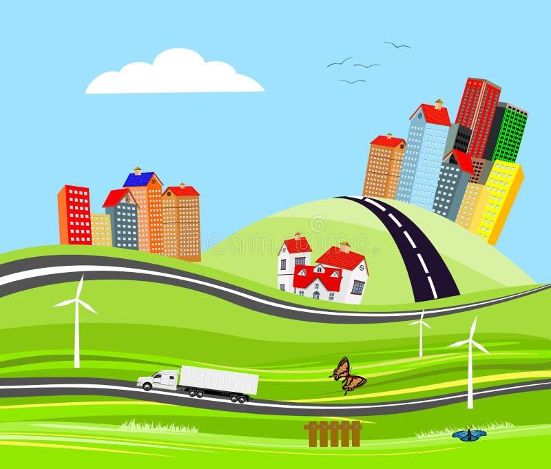 Przewozi samochodem na autostrady mieście na wzgórzach, wieś, pojęcie ilustracji