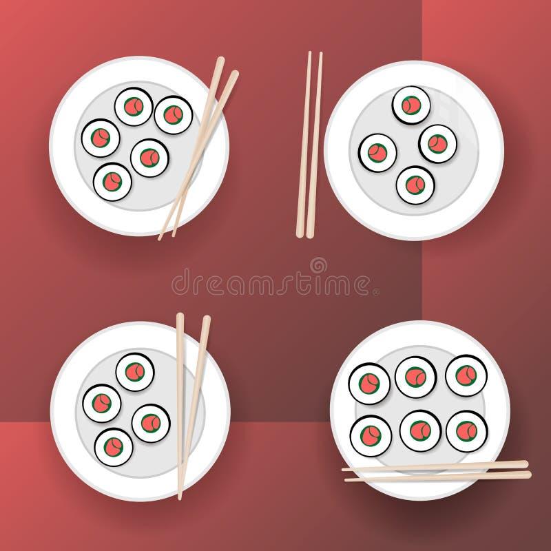 przewr?? sushi royalty ilustracja