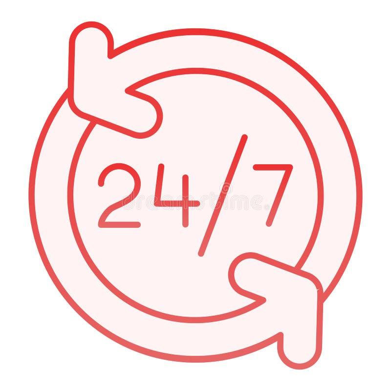 Przez całą dobę płaska ikona Otwiera całodniowe czerwone ikony w modnym mieszkanie stylu 24 godziny usługują gradientu stylu proj ilustracja wektor