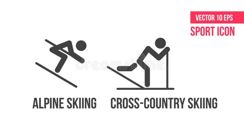 Przez cały kraj narciarstwo, wysokogórskiego narciarstwa und combinedsign północna ikona, logo Set sporta wektoru linii ikony, at royalty ilustracja