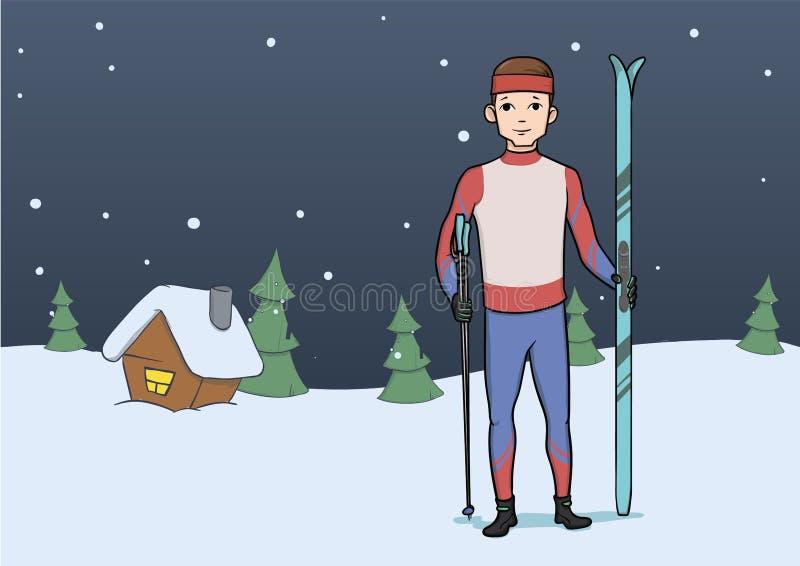 Przez ca?y kraj narciarstwo, zima sport M?ody cz?owiek stoi na wiejskim wiecz?r tle z nartami r?wnie? zwr?ci? corel ilustracji we ilustracja wektor