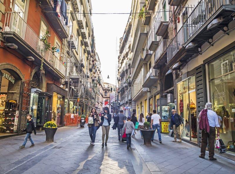Przez Chiaia, sławna ulica w Napoli zdjęcie royalty free
