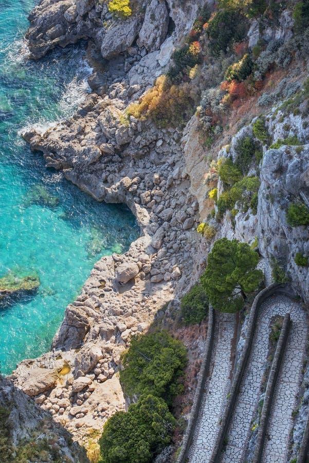 Przez Krupp, Capri wyspa, Campania region, Włochy fotografia stock