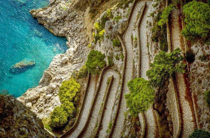 Przez Krupp na Capri wyspie, Włochy zdjęcia stock