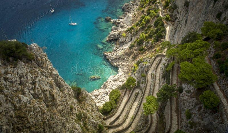 Przez Krupp na Capri wyspie, Włochy zdjęcie royalty free