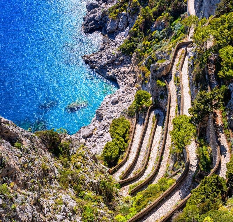 Przez Krupps, Capri wyspa, Włochy obraz stock