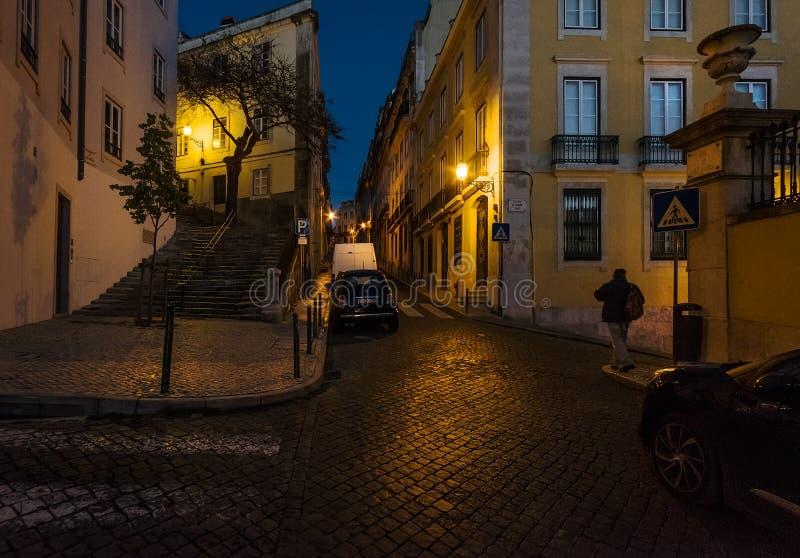 Przez noc w Lisbon Portugalia obraz royalty free