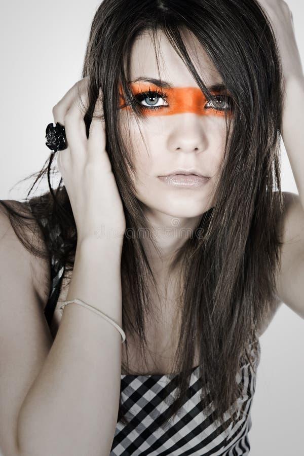 przez twarz fasonuje lampasa jej nastolatka fotografia royalty free