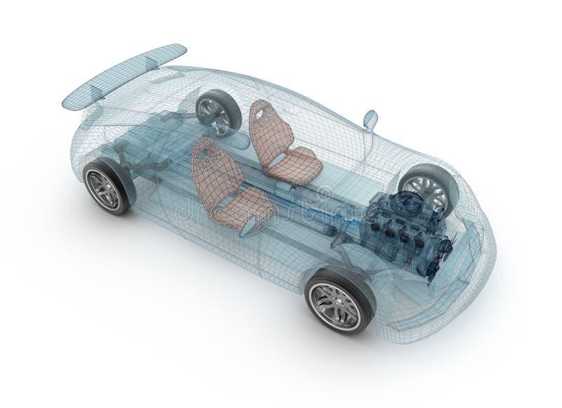 Przezroczysty projekt samochodu, model drutu Ilustracja 3D ilustracja wektor