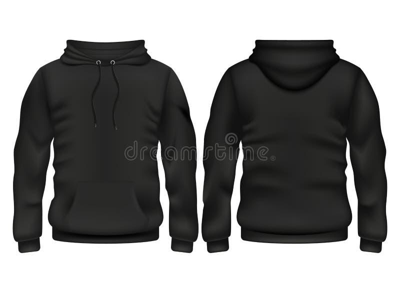 Przodu i plecy hoodie wektoru czarny szablon royalty ilustracja