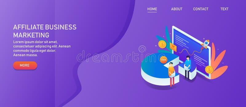 Przyłącza się biznes, filia marketing, skierowanie program, zysku udzielenia pojęcie Cyfrowego marketingowy ekspert robi filia ry ilustracji