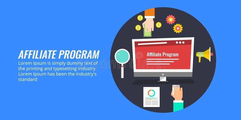 Przyłącza się marketing, wielo- korytkowy pojęcie, sieć marketing Płaski projekta wektoru sztandar ilustracji