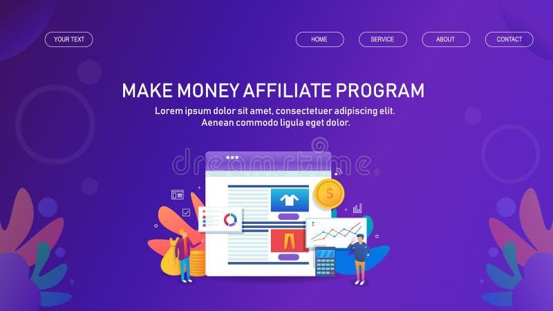 Przyłącza się marketing, zleca zasadzonego marketing, robi pieniądze filii pojęciu, skierowanie marketingowy program, ilustracji