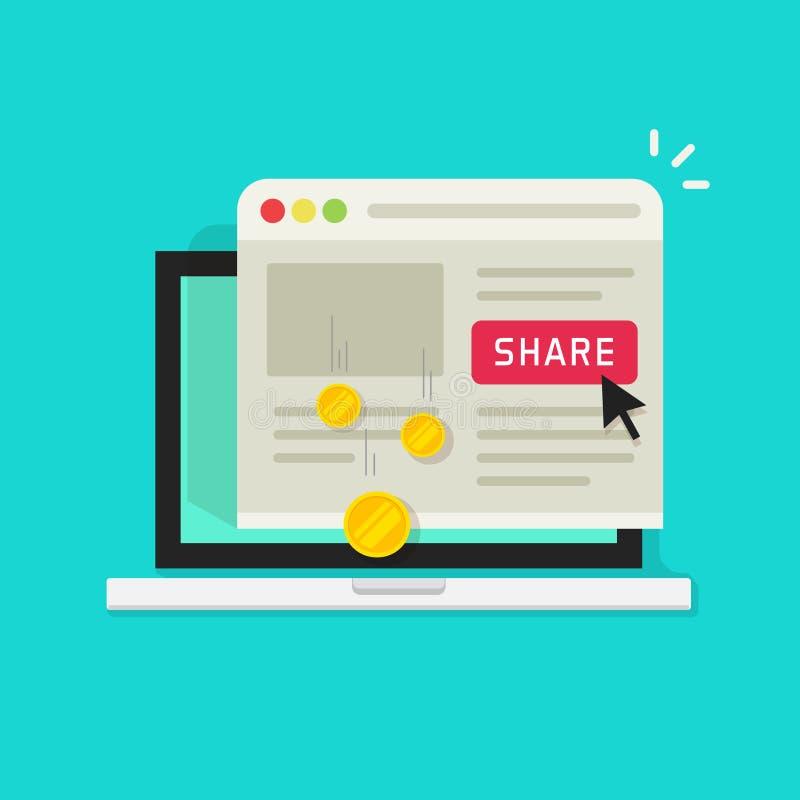 Przyłącza się marketingowego pojęcia wektorową ilustrację, płaskiego kreskówka laptop z część guzikiem i pieniądze przychód od, royalty ilustracja