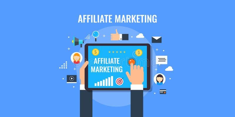 Przyłącza się marketingowego program, biznesowego partnerstwo, networking i komunikację, Płaskiego projekta marketingowy sztandar ilustracji