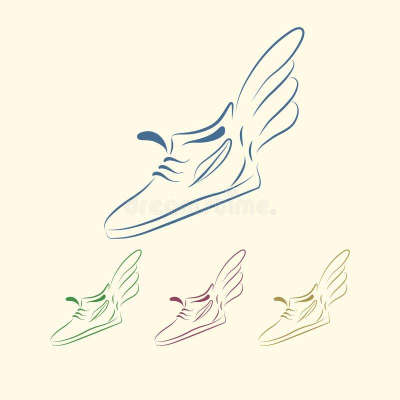 Przyśpieszać działającego buta ikony ilustracji