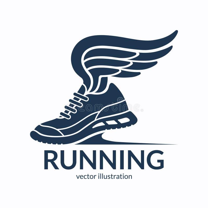 Przyśpieszać działającego buta symbol, ikona, logo Tenisówka sylwetka z skrzydłami również zwrócić corel ilustracji wektora ilustracji