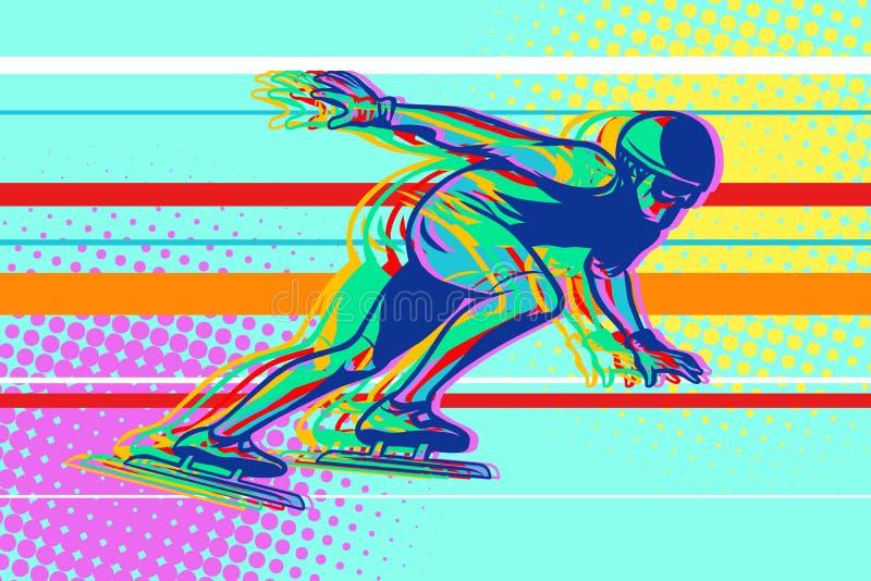 Przyśpiesza łyżwiarstwo, łyżwiarka na lodzie, zima sporty royalty ilustracja
